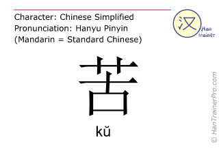 Chinese characters  ( ku / kŭ ) with pronunciation (English translation: painful )