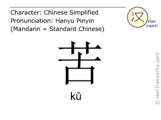汉字  ( ku / k&#365 ) 包括发音 (英文翻译: painful )