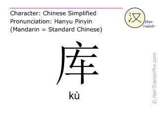 Chinesische Schriftzeichen  ( ku / kù ) mit Aussprache (Deutsche Bedeutung: Lager )