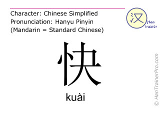 Chinese characters  ( kuai / kuài ) with pronunciation (English translation: fast )