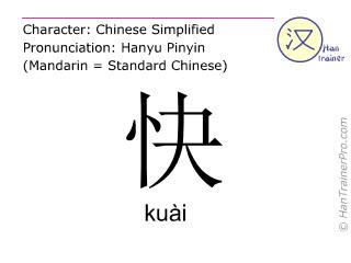 Chinesische Schriftzeichen  ( kuai / kuài ) mit Aussprache (Deutsche Bedeutung: schnell )