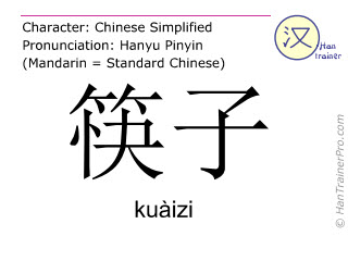 Chinese characters  ( kuaizi / kuàizi ) with pronunciation (English translation: chopsticks )