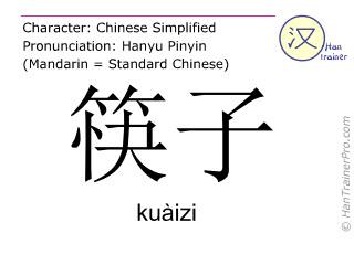 Chinesische Schriftzeichen  ( kuaizi / kuàizi ) mit Aussprache (Deutsche Bedeutung: Essstäbchen )