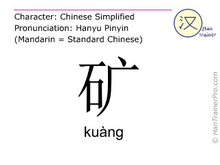 Chinese characters  ( kuang / kuàng ) with pronunciation (English translation: mine )