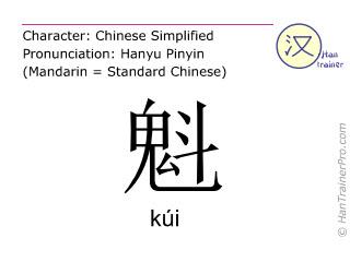 Caracteres chinos  ( kui / k&uacute;i ) con pronunciaci&oacute;n (traducci&oacute;n espa&ntilde;ola: <m>patr&oacute;n</m> )