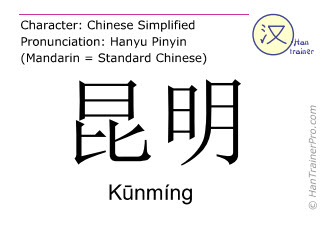 Chinese characters  ( Kunming / Kūnmíng ) with pronunciation (English translation: Kuming )