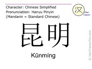 Caractère chinois  ( Kunming / Kūnmíng ) avec prononciation (traduction française: Kuming )