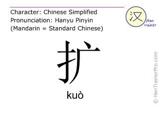 Chinesische Schriftzeichen  ( kuo / kuò ) mit Aussprache (Deutsche Bedeutung: vergrößern )