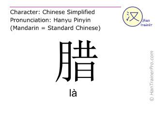 Chine&shy;sische Schrift&shy;zeichen  ( la / l&agrave; ) mit Aussprache (Deutsche Bedeutung: <m>Trockenfleisch</m> )