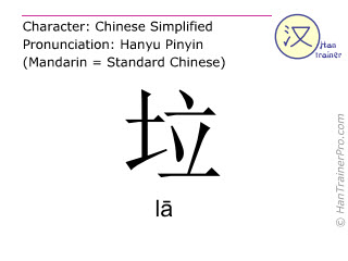 Chinese characters  ( la / lā ) with pronunciation (English translation: garbage )