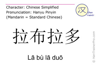 Chinese characters  ( La bu la duo / Lā bù lā duō ) with pronunciation (English translation: Labrador )