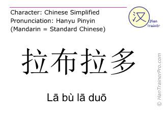 Chinese characters  ( La bu la duo / L&#257 bù l&#257 du&#333 ) with pronunciation (English translation: Labrador )