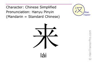 Chinesische Schriftzeichen  ( lai / lái ) mit Aussprache (Deutsche Bedeutung: kommen )