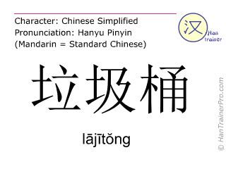 汉字  ( lajitong / lājītŏng ) 包括发音 (英文翻译: trash can )