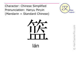 Chinese characters  ( lan / lán ) with pronunciation (English translation: basket )