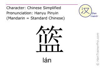 Caractère chinois  ( lan / lán ) avec prononciation (traduction française: panier )