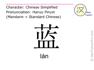 Chinese characters  ( lan / lán ) with pronunciation (English translation: blue )