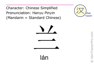Chinese characters  ( lan / lán ) with pronunciation (English translation: orchid )