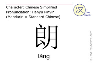 Chinese characters  ( lang / lăng ) with pronunciation (English translation: <m>bright</m> )