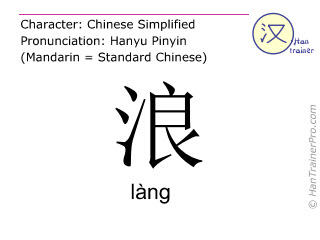 Chinese characters  ( lang / làng ) with pronunciation (English translation: wave )
