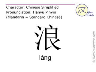 Caracteres chinos  ( lang / làng ) con pronunciación (traducción española: ola )