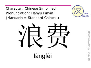 Chinese characters  ( langfei / làngfèi ) with pronunciation (English translation: to waste )