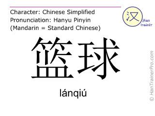 Caracteres chinos  ( lanqiu / lánqiú ) con pronunciación (traducción española: baloncesto )