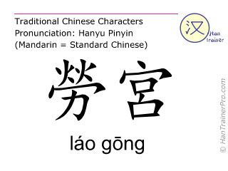 Chinese characters  ( lao gong / láo gōng ) with pronunciation (English translation: Pericardium 8 )