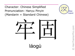 Chinese characters  ( laogu / láogù ) with pronunciation (English translation: stable )