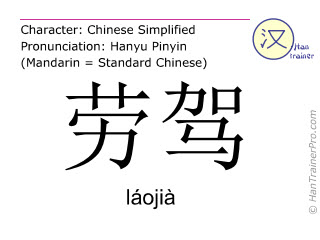 Chinese characters  ( laojia / láojià ) with pronunciation (English translation: Excuse me. )