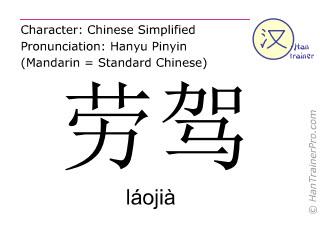 Chinesische Schriftzeichen  ( laojia / láojià ) mit Aussprache (Deutsche Bedeutung: Verzeihung! )