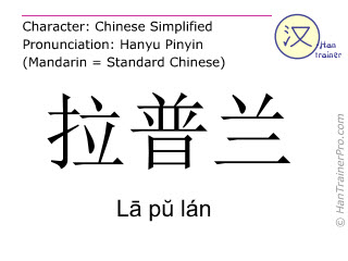 Chinese characters  ( La pu lan / L&#257 p&#365 lán ) with pronunciation (English translation: Lapland )