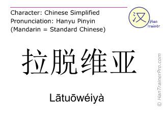 Chinese characters  ( Latuoweiya / L&#257tu&#333wéiyà ) with pronunciation (English translation: Latvia )