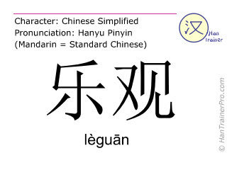 Chinese characters  ( leguan / lèguān ) with pronunciation (English translation: optimistic )
