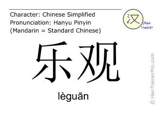 Chinesische Schriftzeichen  ( leguan / lèguān ) mit Aussprache (Deutsche Bedeutung: optimistisch )