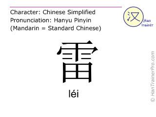 Caractère chinois  ( lei / léi ) avec prononciation (traduction française: tonnerre )