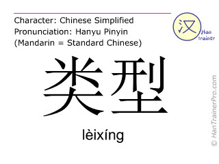 Chinese characters  ( leixing / lèixíng ) with pronunciation (English translation: type )
