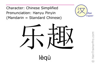 Caracteres chinos  ( lequ / lèqù ) con pronunciación (traducción española: diversión )