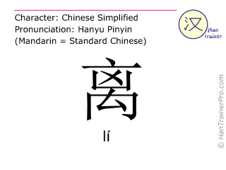 Chinese characters  ( li / lí ) with pronunciation (English translation: from )