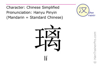 Chinese characters  ( li / l&iacute; ) with pronunciation (English translation: <m>glass</m> )