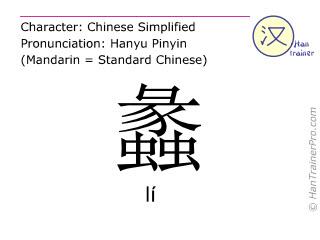 Chine&shy;sische Schrift&shy;zeichen  ( li / l&iacute; ) mit Aussprache (Deutsche Bedeutung: <i>Familienname</i> )