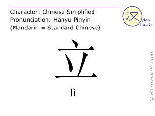 Chinesische Schriftzeichen  ( li / lì ) mit Aussprache (Deutsche Bedeutung: stehen )