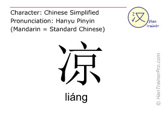 Chinese characters  ( liang / liáng ) with pronunciation (English translation: to cool )