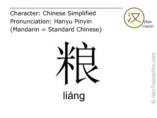 Chinesische Schriftzeichen  ( liang / liáng ) mit Aussprache (Deutsche Bedeutung: Lebensmittel )