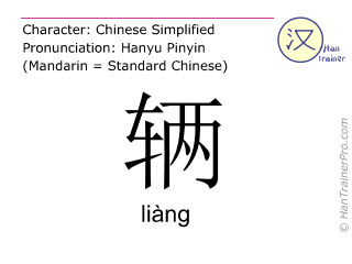 Chinese characters  ( liang / liàng ) with pronunciation (English translation: <i>classifier (for land vehicles)</i> )