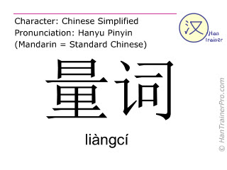 Chinese characters  ( liangci / liàngcí ) with pronunciation (English translation: classifier )