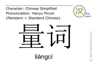 Chinesische Schriftzeichen  ( liangci / liàngcí ) mit Aussprache (Deutsche Bedeutung: Zählwort )
