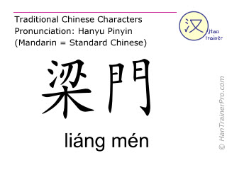 Chinese characters  ( liang men / liáng mén ) with pronunciation (English translation: Stomach 21 )