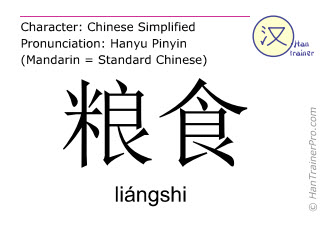 Chinese characters  ( liangshi / liángshi ) with pronunciation (English translation: grain )