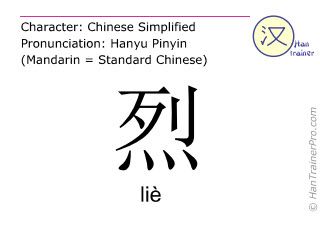 Chinese characters  ( lie / liè ) with pronunciation (English translation: strong )